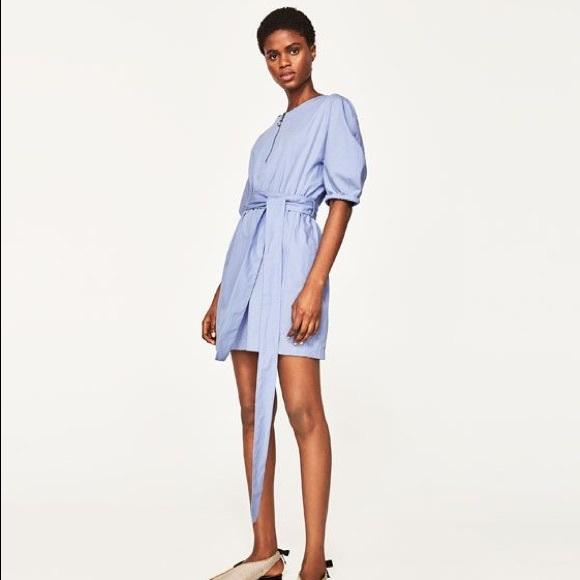 1250af5a Zara Dresses | Nwt Blue Puffed Sleeve Poplin Dress With Belt | Poshmark
